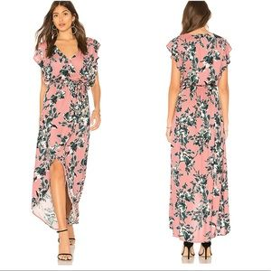 Splendid Painted Floral Wrap Maxi Dress O3462